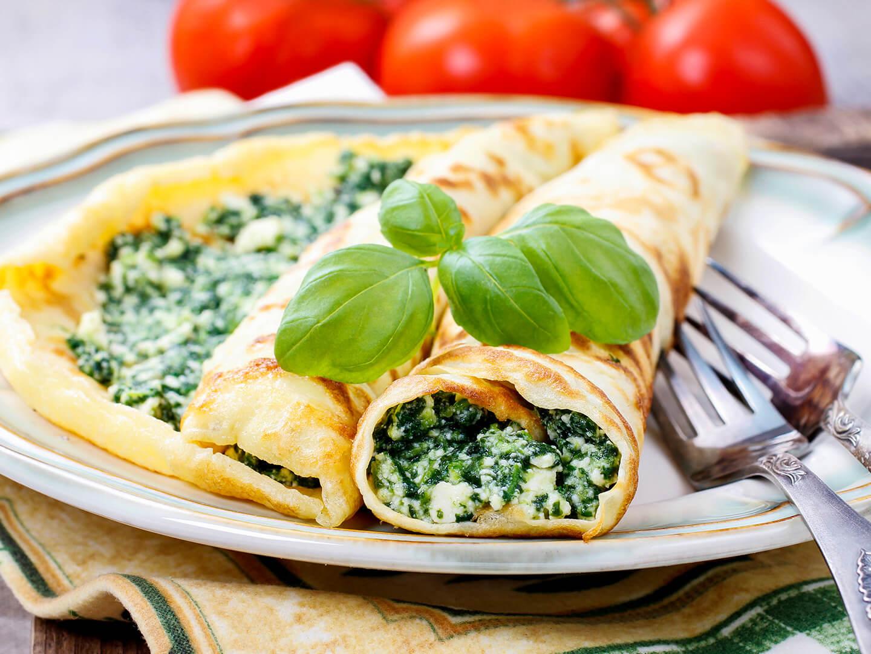 Creppes de queso y espinaca con Esparcible Canola Life